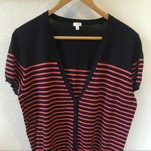 J. Crew shirt sleeve striped cardigan
